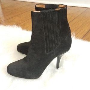 VINCE Black Suede High Heel Ankle Boots Booties